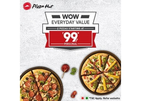 Pizza Hut Wow Everyday Value Offer Buy 2 Any Personal Pan Pizzas Starting At Rs 99 Dealbates Best Online Deals And Offers In India